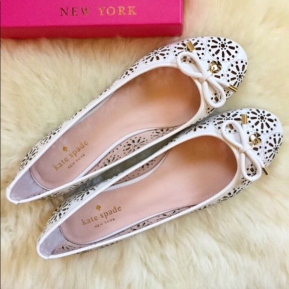 45fcb07be7a2 Kate Spade White Leather Lasercut Walsy Flats